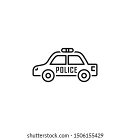 Police car icon. Element of legal services thin line icon