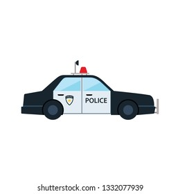 Police car icon. Flat color design. Vector illustration.