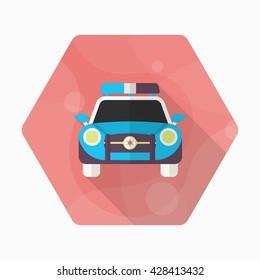 Police car icon, Vector flat long shadow design. EPS10
