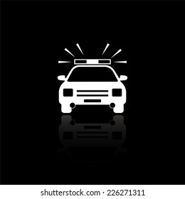 Police Car icon - vector illustration with reflection isolated on black