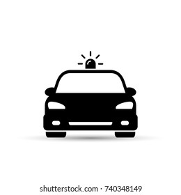 Police Car icon, vector iolated flat illustration. Front view.