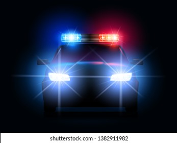 Police car lights. Security sheriff cars headlights and flashers, emergency siren light and secure transport vector illustration