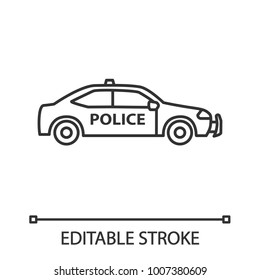 Police car linear icon. Thin line illustration. Contour symbol. Vector isolated outline drawing. Editable stroke