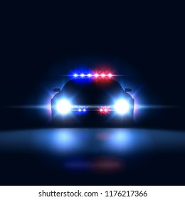 Police car sheriff at night with flashing light. Police security patrol on the car in the dark with a siren, vector illustration