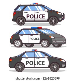 Police car side view isolated on white.Off-road flat line art vector.Patrol car sedan.Police force vehicle.