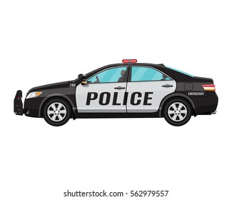 police car side view isolated on white. vector illustration.