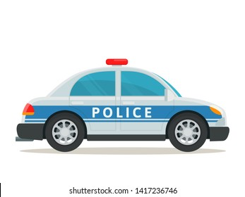 Police car, side view. Police patrol transport. Vector illustration, flat cartoon style. Isolated on white background.