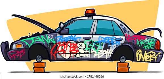 Police Car with stolen Tires. Car with Graffiti on board. Vandalism, Chaos, and Absolute Impunity.