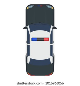 Police car with top view. Solid and flat color style design.
