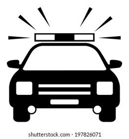 Police Car - vector black icon