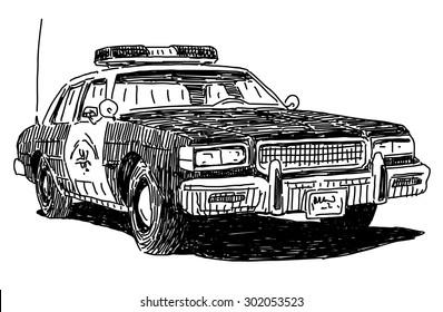 Police car vector drawing