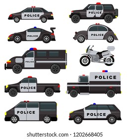Police car vector emergency policy vehicle truck and suv automobile patrol and policemans motorcycle illustration set of police-officers transport and police-service auto isolated on white background