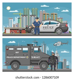 Police car vector policeman character and policy vehicle of policeman illustration backdrop set of police-officers transport and police-service auto van or truck cityscape background