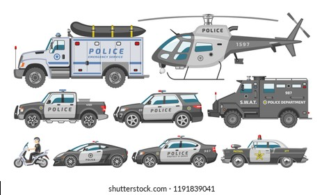 Police car vector policy vehicle or helicopter and policeman on motorbike illustration set of police-officers transport and police-service auto isolated on white background