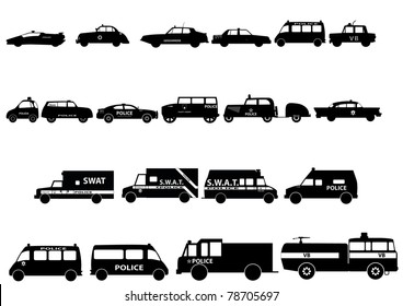 Police cars silhouette