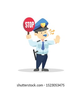 Police cartoon character holding a stop sign and blowing a whistle with gestures telling to stop flat vector illustration