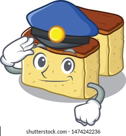 Police castella cake isolated in the cartoon