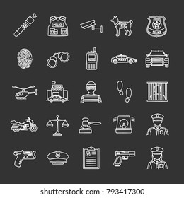 Police chalk icons set. Law enforcement. Transport, protection equipment, weapon. Isolated vector chalkboard illustrations