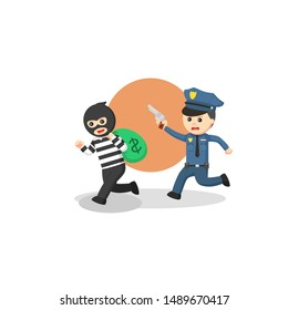 The police are chasing money thieves illustration