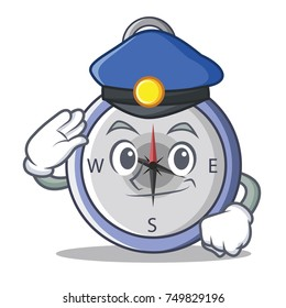 Police compass character cartoon style