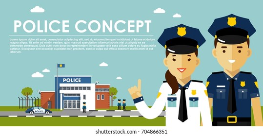 Police concept with cops in flat style. Young policeman and policewoman, city police department building, police car