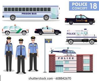 Police concept. Detailed illustration of police station, policeman, sheriff, prison bus, helicopter, armored S.W.A.T. truck and car in flat style on white background. Vector illustration.