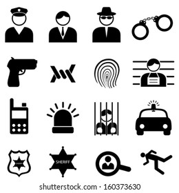 Police and crime icon set