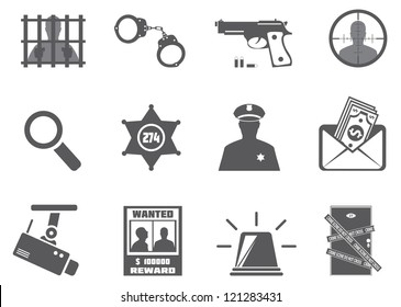 Police and criminality. Vector set