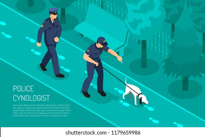Police cynologist special footsteps tracking dog training assisting detective inspectors in crime investigation isometric composition vector illustration
