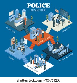 Police department isometric concept with screening room and conference hall symbols on blue background vector illustration