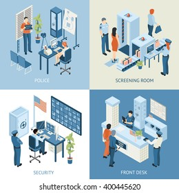 Police departments concept icons set with security and front desk symbols isometric isolated vector illustration
