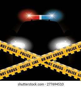 Police design over black background, vector illustration.