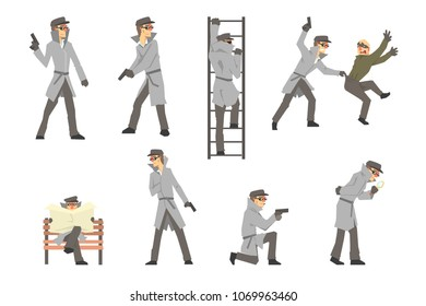Police Detective And Private Investigator At Work Investigating And Solving Crimes Set Of Situations