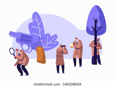 Police Detectives, Private Investigators at Work Solving Crimes. Top Secret Undercover Agents, Spies in Classic Hats and Cloaks Investigating with Magnifier Glass and Gun. Flat Vector Illustration
