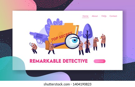 Police Detectives and Private Investigators at Work Investigating and Solving Crimes. Intelligence Service Spies, Watchers. Website Landing Page, Web Page. Cartoon Flat Vector Illustration, Banner