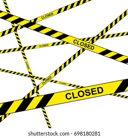Police do not enter closed cordon yellow tapes vector illustration