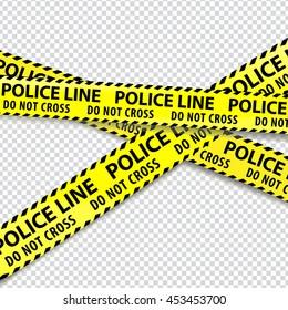 Police, do not enter, cordon tapes. Vector illustration.