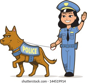 Police Dog and Asian Female Police Officer