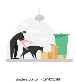 Police dog missions are issued to perform various duties Like following a villain smell Sniffing explosives and drugs And search missions. vector illustration flat design