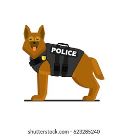 Police dog in uniform vector illustration isolated on white background. Security dog character in flat design.
