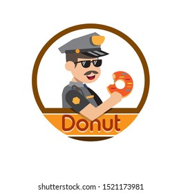 police donut logo flat design