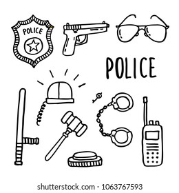 police doodle icons set