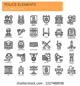 Police elements , Thin Line and Pixel Perfect Icons
