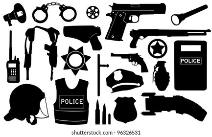 police equipment set isolated on white