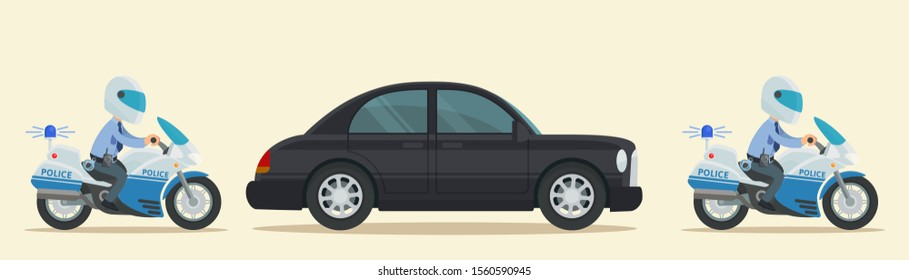 Police escort accompanies President's luxury car. Patrol motorcyclists and black limousine with important person, senator, politician. Vector illustration flat cartoon style. Isolated background.