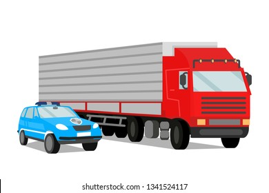 Police Escort and Trailer Flat Vector Illustration. Police Car on Convoy Mission. Logistics and distribution. Cargo Transportation under Protection. Security Agency Services Design Element