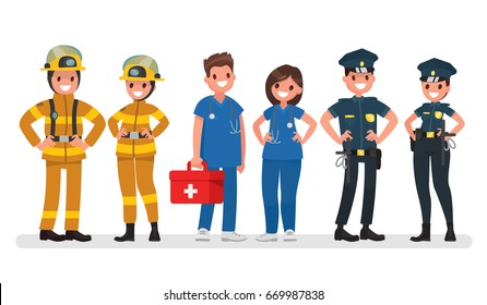 Police, fire and ambulance. Emergency services. Vector illustration in a flat style