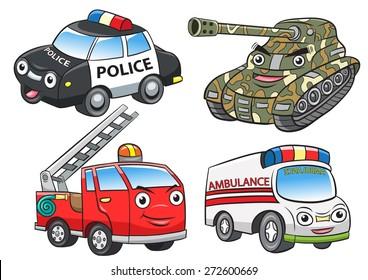 police fire ambulance tank cartoon.EPS10 File  simple Gradients,