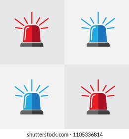 Police flasher, siren vector set. Police or ambulance red and blue flasher siren logo. Alarm or emergency icon flat vector