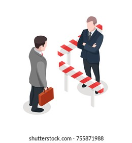 Police guard, customs control concept, national security agent vector, businessman with suitcase isometric people illustration isolated on white background